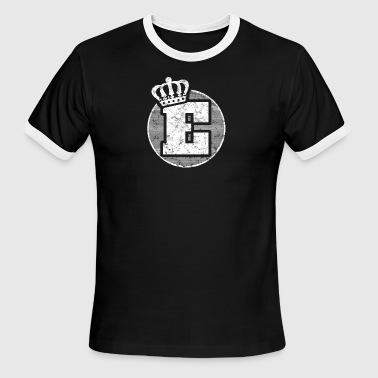 Name Letter E Character Case Alphabetical Crown - Men's Ringer T-Shirt