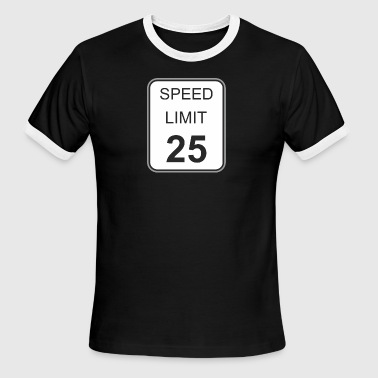 Road_sign_speed_limit_25 - Men's Ringer T-Shirt