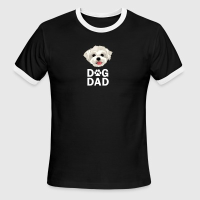 Dog Dad Maltese Funny Fathers Day Gift Paw - Men's Ringer T-Shirt