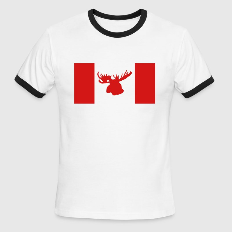 Moose - Canada Flag - Men's Ringer T-Shirt