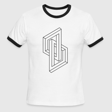 Optical Illusion - Impossible figure - Geometry - Men's Ringer T-Shirt
