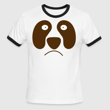 panda face cute with frown - Men's Ringer T-Shirt