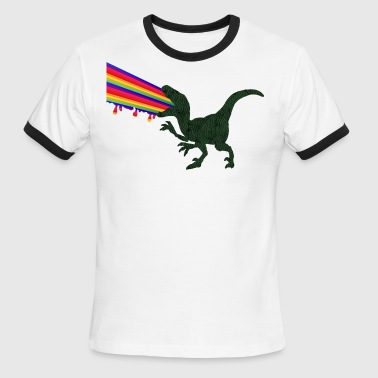 Rainbow Dinosaur Raptor color funny Jurassic Dino - Men's Ringer T-Shirt