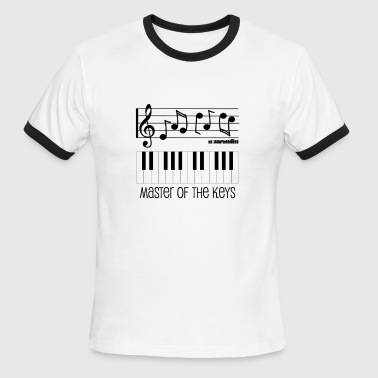 Key Music Note Piano Keys and Musical Notes - Master of the Keys - Men's Ringer T-Shirt