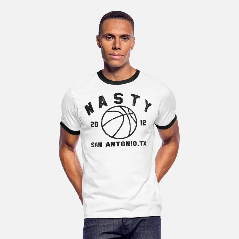 Basketball T-Shirts - I Want Some Nasty Basketball Retro Ringer T Shirt - Men's Ringer T-Shirt white/black
