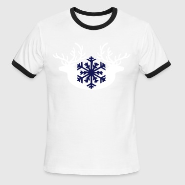 Doe Stag winter stags and a snowflake - Men's Ringer T-Shirt