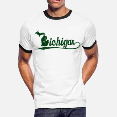 Retro Michigan Michigan Script - Men's Ringer T-Shirt