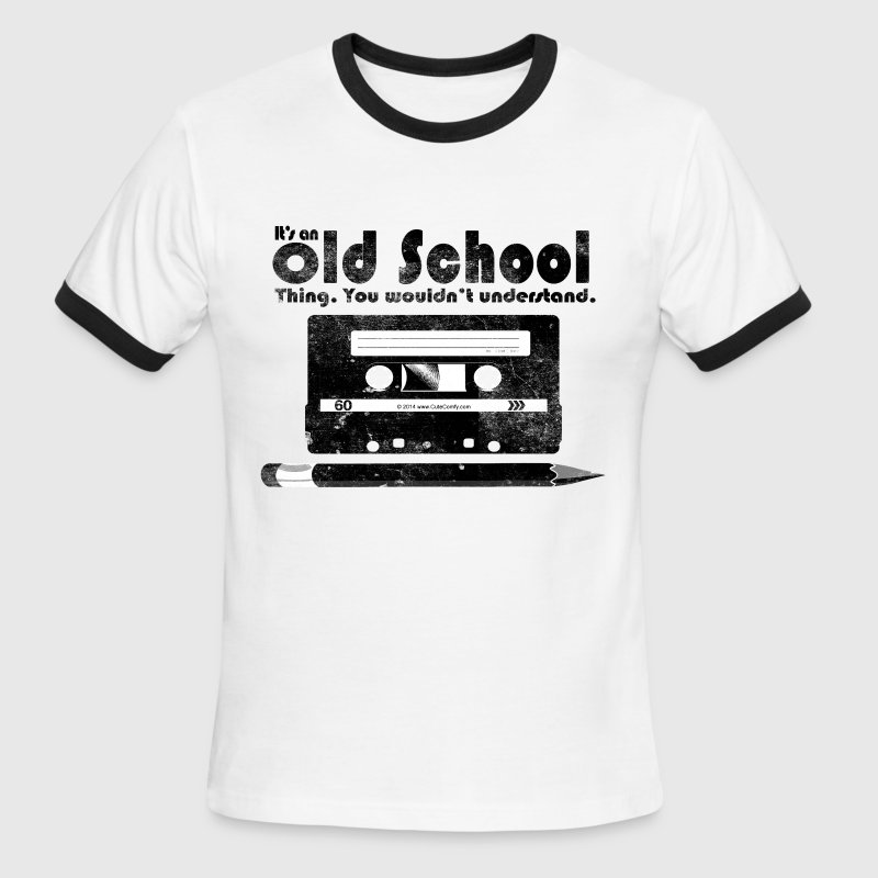Old School Thing Cassette Retro 80s - Men's Ringer T-Shirt