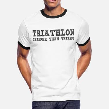 Swimming Cheaper Than Therapy Triathlon Cheaper Than Therapy - Men's Ringer T-Shirt