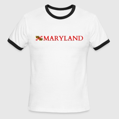 Maryland with Flag - Men's Ringer T-Shirt