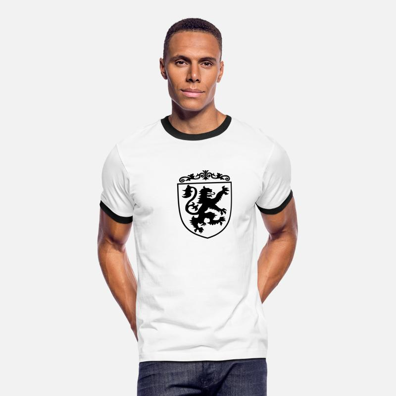 Art Medieval Retro Antique Knight Armor Shield Coat Of Arms T-Shirts - Lion Shield at Coat of Arms - Men's Ringer T-Shirt white/black