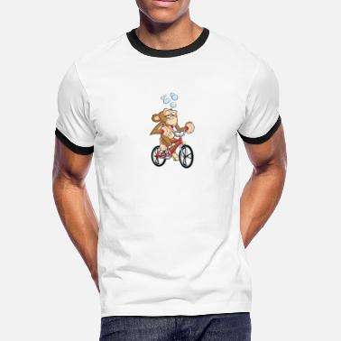 Drunken Monkey Drunken Monkey Riding Bicycle - Men's Ringer T-Shirt