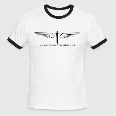 Black Archangel Productions wings and sword logo - Men's Ringer T-Shirt