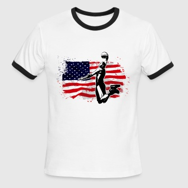 Basketball -  USA Flag - Men's Ringer T-Shirt