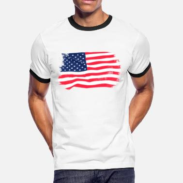 86126d7f8c5 Old Usa Flag USA Flag - Vintage Look - Men  39 s Ringer T