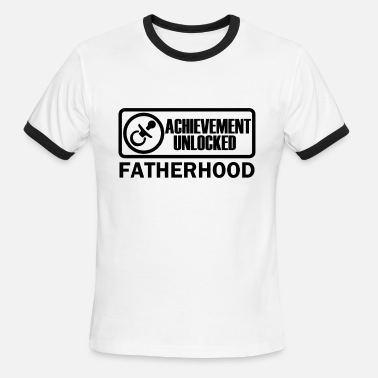 Dad Achievement Unlocked Fatherhood Achievement Unlocked Gamer Dad to be - Men's Ringer T-Shirt