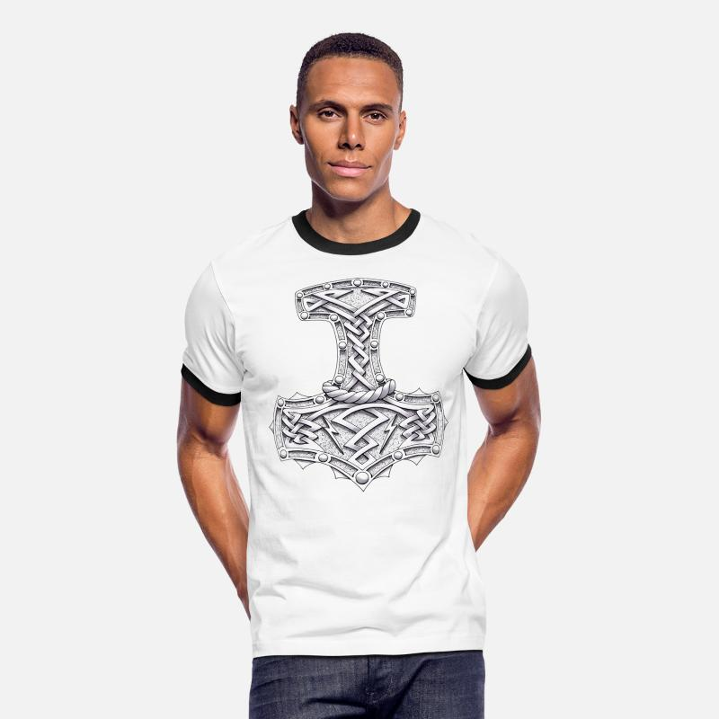 Hammer T-Shirts - Thor's Hammer - Men's Ringer T-Shirt white/black