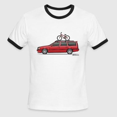 Volvo 850 855 Red Wagon With BMX Bike - Men's Ringer T-Shirt