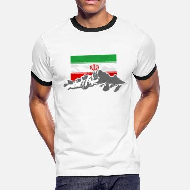 Iran Flag Iran - Flag & Mountains - Men's Ringer T-Shirt