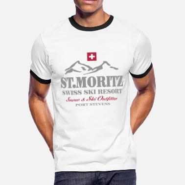 Switzerland St. Moritz - Swiss flag - Men's Ringer T-Shirt