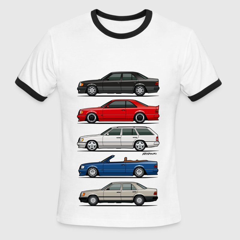 Stack of Mercedes W124 E-Class - Men's Ringer T-Shirt