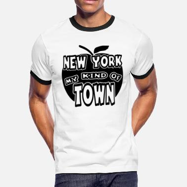 Apple Cut Out New York, My Kind Of Town With Apple, 1 Color - Men's Ringer T-Shirt