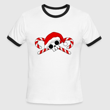 Santa Skull with Candy Canes - Men's Ringer T-Shirt