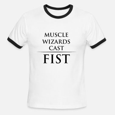 Wizards And Warriors muscle wizards cast fist - Men's Ringer T-Shirt