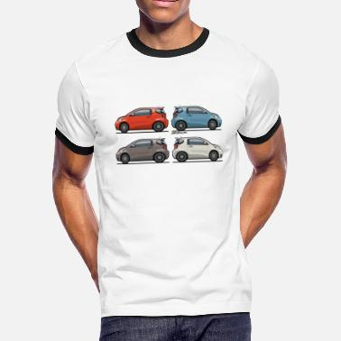 Red White Blue Stripe Four Toyota Scion iQ Micro Cars - Men's Ringer T-Shirt