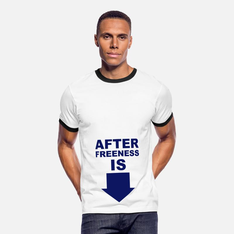 Sky/navy After Freeness is penis T-Shirts Men's Ringer T-Shirt - white/black