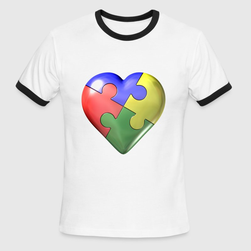 Autism awarness puzzle heart - Men's Ringer T-Shirt