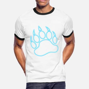 Woof Bear Paw Neon Blue Bear Paw - Men's Ringer T-Shirt