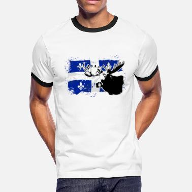 Quebec Flag Quebec  Flag - Moose - Men's Ringer T-Shirt