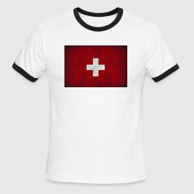 flag of Switzerland red square white cross t shirt - Men's Ringer T-Shirt