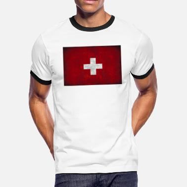 Switzerland Geek flag of Switzerland red square white cross t shirt - Men's Ringer T-Shirt