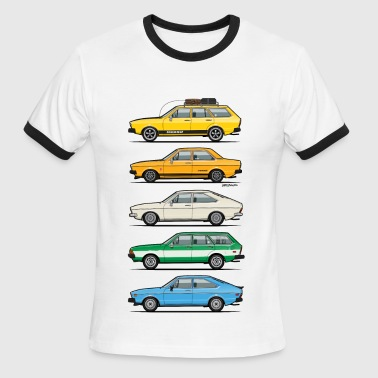 Stack of VAG B1 VDubs and Four Rings - Men's Ringer T-Shirt