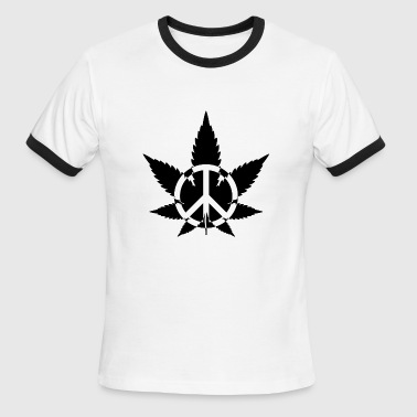 T shirt Peace Marijuana Weed - Men's Ringer T-Shirt