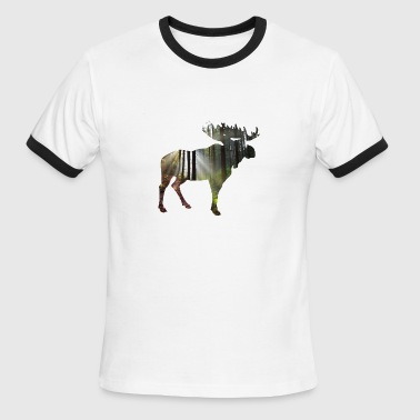Elk Moose Moose Elk wood forest - Men's Ringer T-Shirt