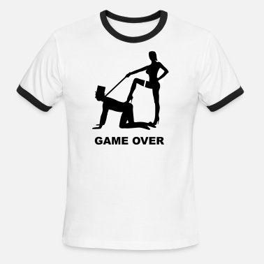 Nuptials game over marriage matrimory wedlock fog haze double heiht heyday nuptials wedding zenith dominatrix lash whip slave bondman sex - Men's Ringer T-Shirt