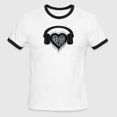Love Music rhythm heart beat - Men's Ringer T-Shirt