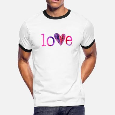 Sex Collage wordtease collage art LOVE (pinks) heart pinkz - Men's Ringer T-Shirt
