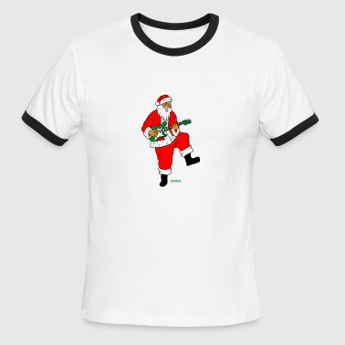 Santa With Guitar santa clause guitar - Men's Ringer T-Shirt