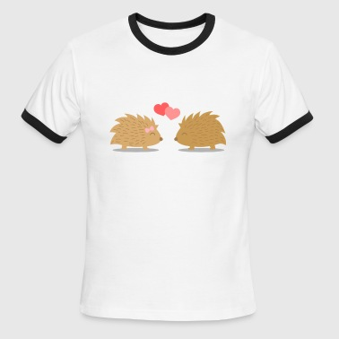 Hedgehog Couple cute hedgehog couple in love - Men's Ringer T-Shirt