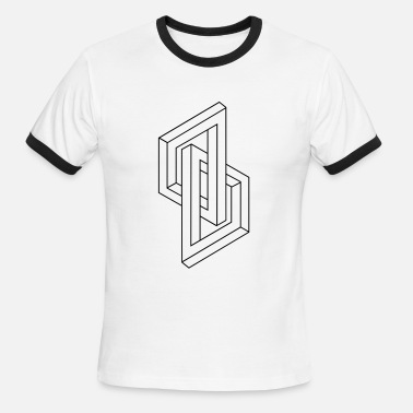 Illusion Optical Illusion - Impossible figure - Geometry - Men's Ringer T-Shirt