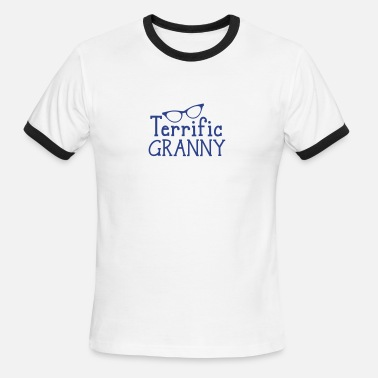 Terrific And Funny terrific granny with funky cats eyes glasses - Men's Ringer T-Shirt