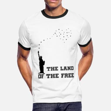 America Land Of The Free The Land Of The Free for white - Men's Ringer T-Shirt