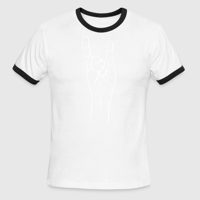 rock hand gesture - Men's Ringer T-Shirt