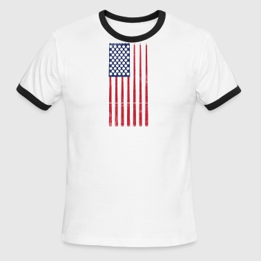 Vintage US Flag Billard Balls + Cues Pool Billard - Men's Ringer T-Shirt