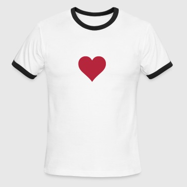 Plain Heart Love Lovers Valentine's Loving Red - Men's Ringer T-Shirt