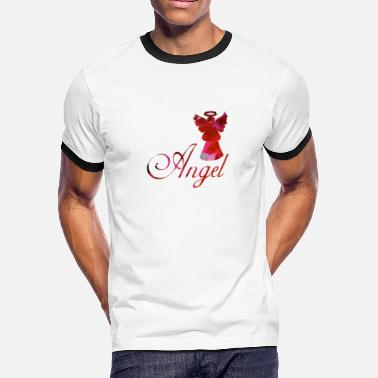 Angel Wings With Halo artTS collage art ANGEL wings halo pinkz - Men's Ringer T-Shirt